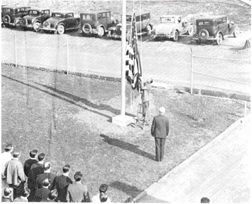 1934: 1st flag raising – Original location (bldg. 1)